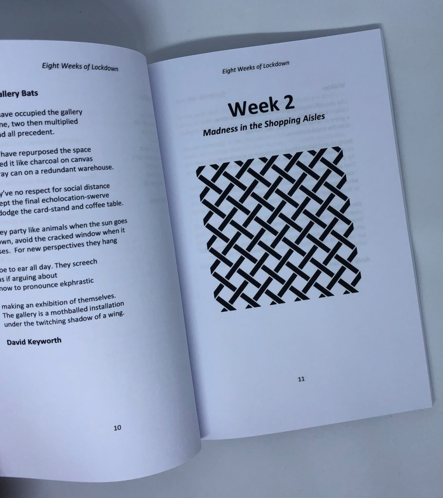 LHL_2020_005c: Inside the book '8 Weeks of Lockdown', showing pages 10 and 11. Page 11 is 'Week 2 Madness in the Shopping Aisles' and has an illustration of a basket weave pattern in black at the centre of the page.