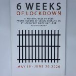 LHL_2020_006a: Front cover of a book, entitled '6 Weeks of Lockdown. A historic week by week poetic record of social distancing by Stockport Write Out Loud poetry group. May 19 - June 26 2020'. The cover has an illustration of jail cell bars in black at the centre. Thumbnail