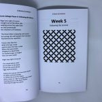 LHL_2020_006c:  Inside the book '6 Weeks of Lockdown', showing pages 33 and 34. Page 34 is 'Week 5 Following the Science' and has an illustration of a basket weave pattern in black at the centre of the page. ; all other Videos: Video transcriptions available. Thumbnail