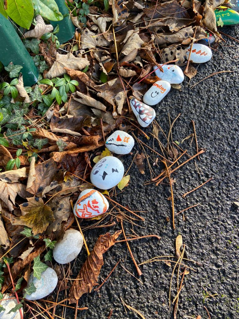 LHL_2020_008a: photograph showing a row of rocks and pebbles on a pavement with crisp brown leaves behind them.  The rocks and pebbles have been painted with images and messages.