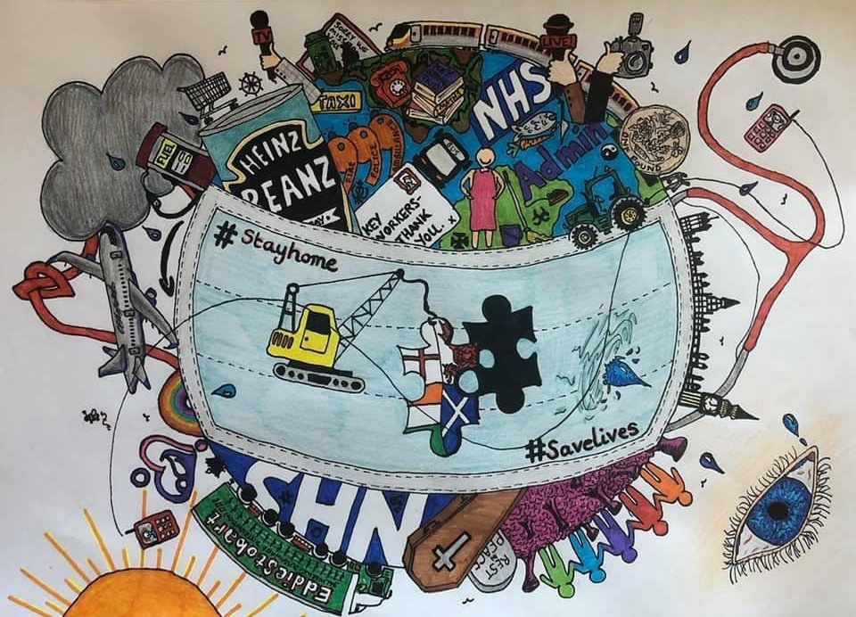 LHL_2020_011a: Drawing by Catherine Hayworth, 2020. Drawing of the earth with a large mask at the centre, surrounded by various icons representing the coronavirus pandemic in the UK.