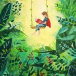 LHL_2020_012b: The artwork 'Love', © Angela Lock, 2020. Depicts a superhero on a swing; they are reading a book and the swing is surrounded by plant life. Thumbnail