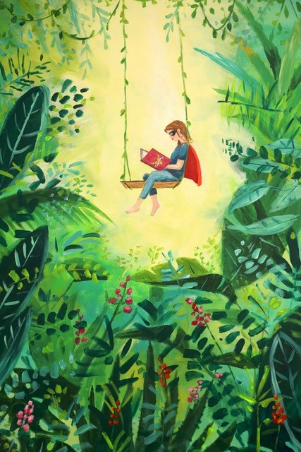 LHL_2020_012b: The artwork 'Love', © Angela Lock, 2020. Depicts a superhero on a swing; they are reading a book and the swing is surrounded by plant life.