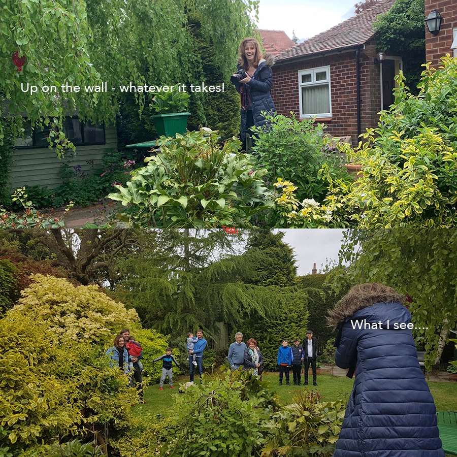 LHL_2020_014j – Project photographer Katherine shows how she takes her photographs – by standing in various places in gardens such as on walls and in the greenery! When lockdown restrictions eased and people were allowed to visit friends or family in gardens…