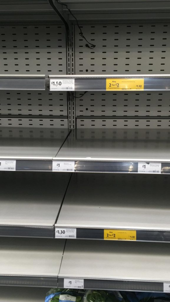LHL_2020_018: Photograph showing empty chilled shelves in a supermarket.