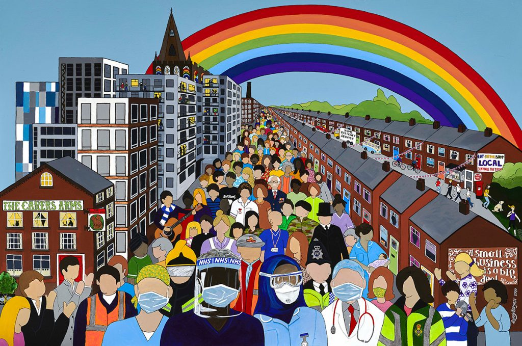 LHL_2020_020: Lucy's painting 'The Carers Arms', 2020. Depicts a road filled with people who have no facial features, and buildings either side of the road. There is a rainbow in the sky.