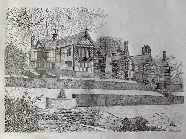 LHL_2020_022: detailed drawing of the East aspect of Bramall Hall and the gardens below.