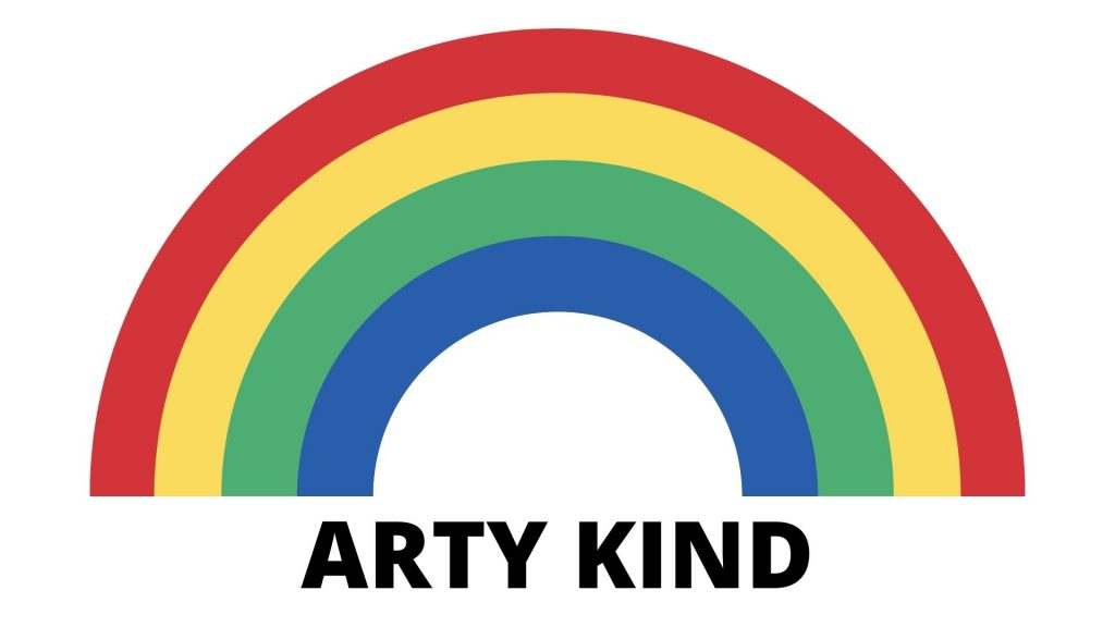 REF_1232a: Graphic of a large rainbow on a green background with the text 'ARTY KIND' at the bottom.