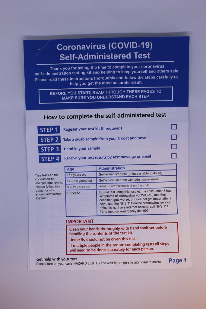 STOPM_2020_371_1a: Instruction booklet, A4 gloss paper. Contains 9 pages of picture and text instructions of how to use a self-test kit.