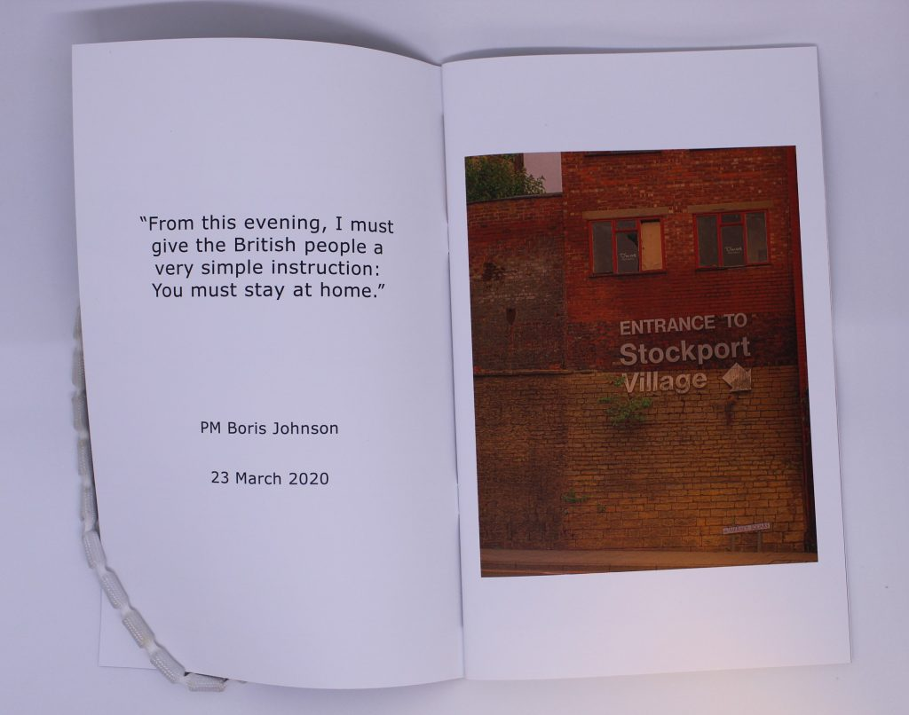 STOPM_2020_418b: An open booklet; the first pages of the zine entitled 'Stockport in Solitude' by Jake Bowden. It has a quote in black text on the left page reading '