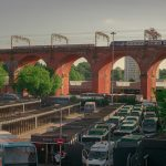STOPM_2020_418g: Photograph of a train going over the Stockport Viaduct, with Stockport bus station below, taken by Jake Bowden. Thumbnail