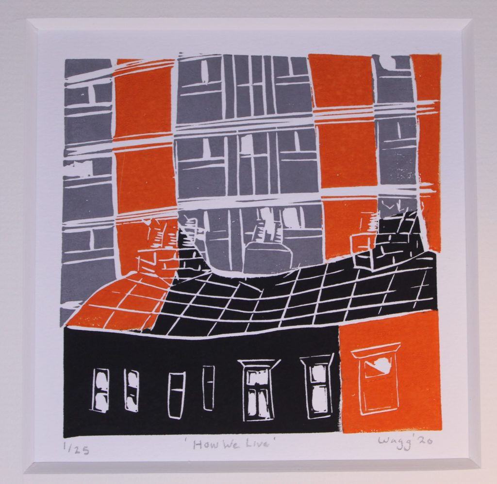 STOPM_2020_481a: Print by Jackie Wagg, depicts the roof and top row of windows of a building in the foreground, and a high rise building in the background. The colours of the print are black, orange and grey. Video transcription available.