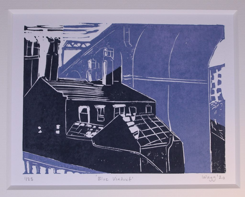 STOPM_2020_482a: Print by Jackie Wagg, depicts part of the Stockport viaduct and a building below. The colours of the print are dark grey and blue-grey. 2 video transcriptions available.