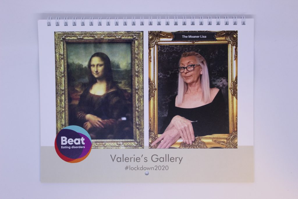 STOPM_2020_545b: front cover of a ring bound calendar. The cover has an image of the painting Mona Lisa by Leonardo da Vinci at the left, and an image of Valerie recreating this painting on the right - with her hands crossed over in the same manner. The logo for the charity Beat has been added, and the text 'Valerie's Gallery #lockdown2020'.