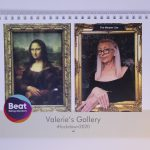 STOPM_2020_545b: front cover of a ring bound calendar. The cover has an image of the painting Mona Lisa by Leonardo da Vinci at the left, and an image of Valerie recreating this painting on the right - with her hands crossed over in the same manner. The logo for the charity Beat has been added, and the text 'Valerie's Gallery #lockdown2020'. Thumbnail
