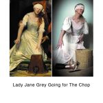 STOPM_2020_545f: two images - left is a close-up image of the painting The Execution of Lady Jane Grey by Paul Delaroche, and the bottom image is Valerie's version, blindfolded and reaching for hair styling tools. Text underneath says 'Lady Jane Grey Going for The Chop'. Thumbnail