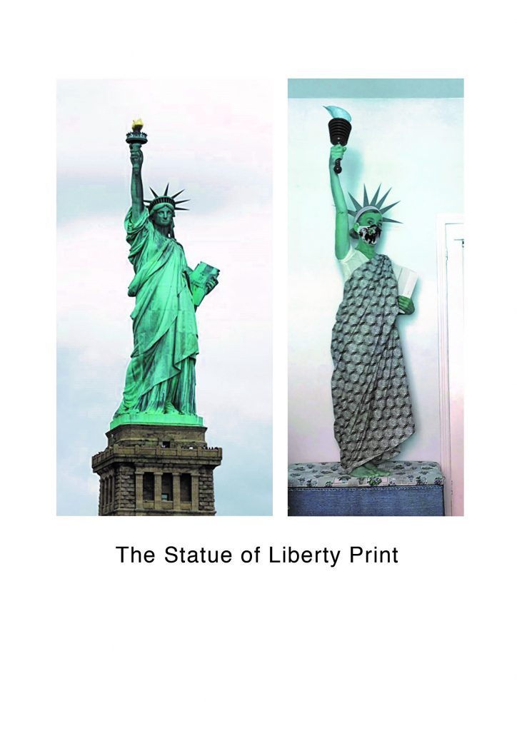 STOPM_2020_545g: two images - left is a photograph of the Statue of Liberty, right is Valerie dressed up as the Statue of Liberty. Text underneath says 'The Statue of Liberty Print'.