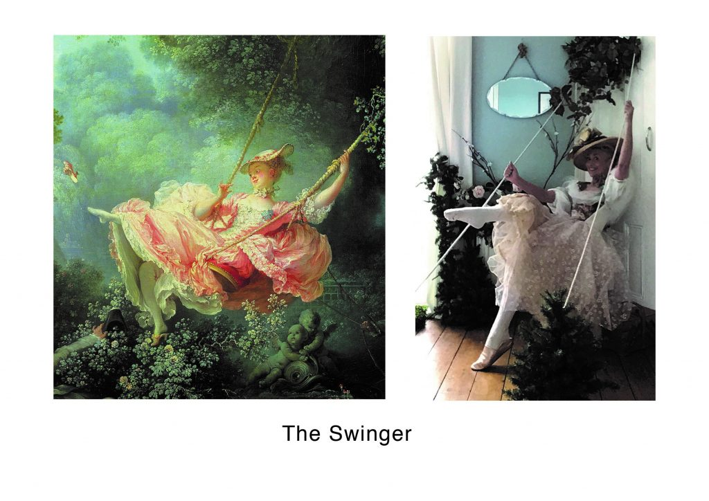 STOPM_2020_545h: two images - left is a close-up of the painting The Swing by Jean-Honoré Fragonard, showing a woman in a dress on a swing, the right image is Valerie's recreation, wearing a similar pale pink dress and with the same posture, holding onto rope. Text says 'The Swinger'.