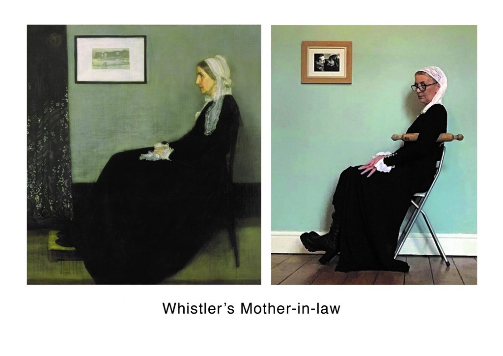 STOPM_2020_545i: two images - left is a cropped version of Whistler's Mother, a painting by James Abbott McNeill Whistler. This shows the side profile of a woman sat on a chair. the right image is Valerie's version, sat on a folding chair, with a rolling pin under the arm and wearing similar black dress with white head covering. Text underneath says 'Whistler's Mother-in-law'.